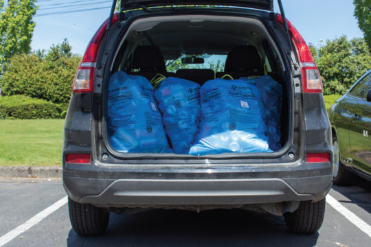 Stack of Blue Bags in the Back of a Van
