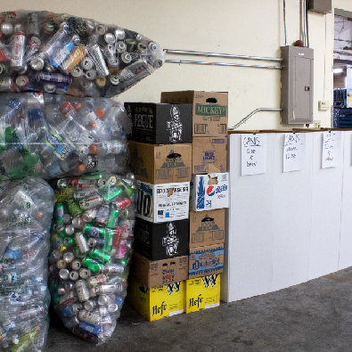 Bags and boxes filled with Oregon refund beverage containers